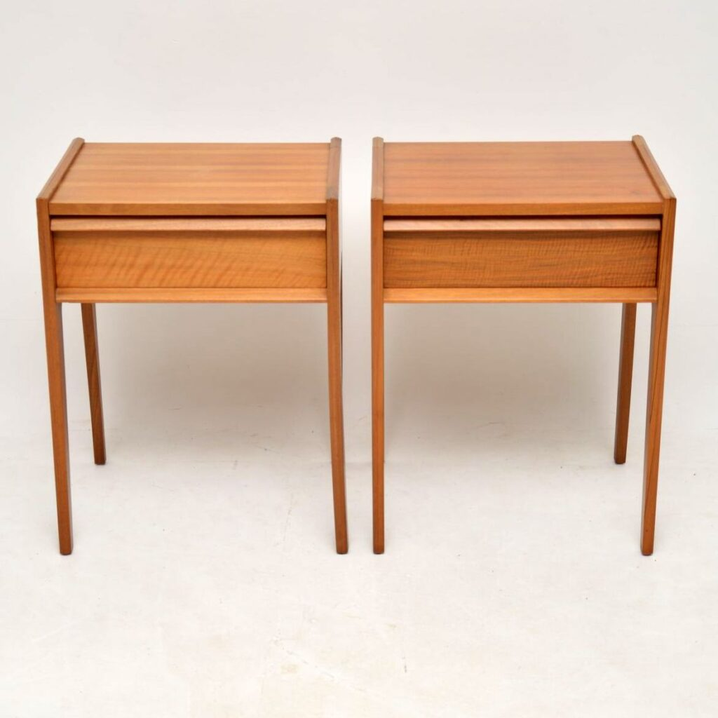 pair of retro vintage walnut bedside tables younger