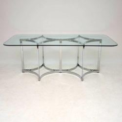 1970's Vintage Merrow Associates Dining Table in Chrome & Glass
