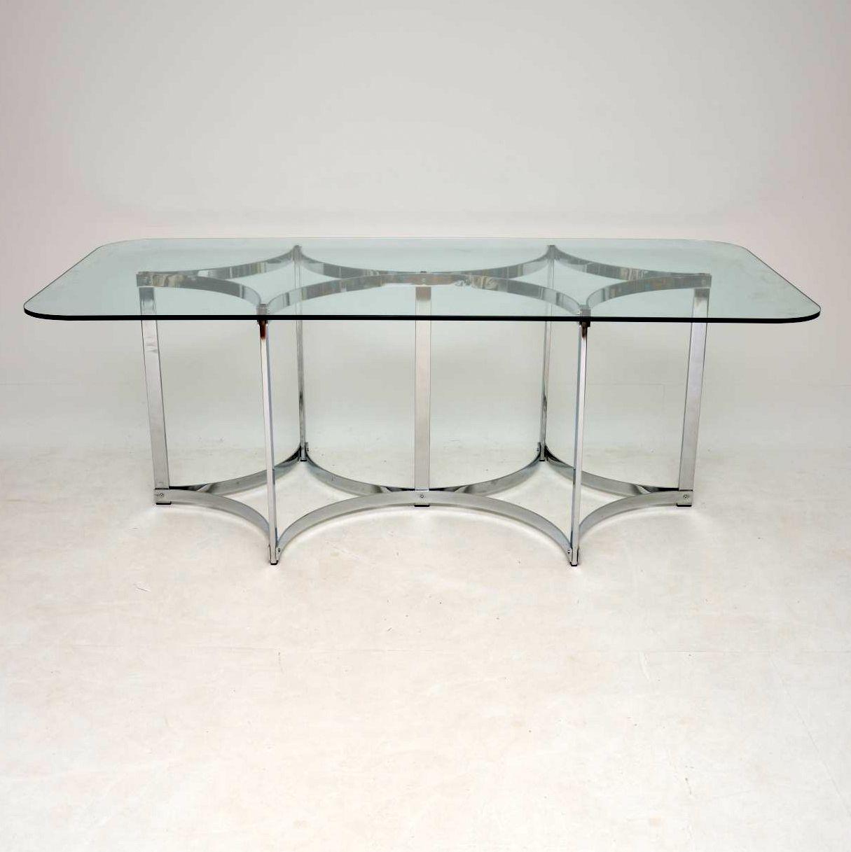 vintage retro chrome glass dining table merrow associates