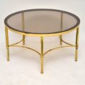 1960's Vintage French Brass & Glass Coffee Table