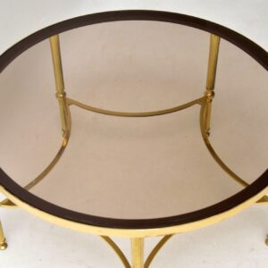 retro vintage french brass and glass coffee table