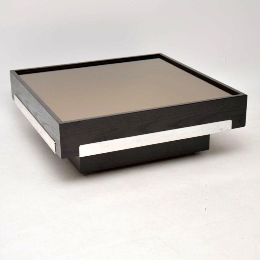 vintage retro mirrored coffee table 1970s