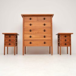Vintage Solid Walnut Chest of Drawers & Bedside Tables