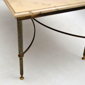1950's Vintage Brass and Marble Coffee Table