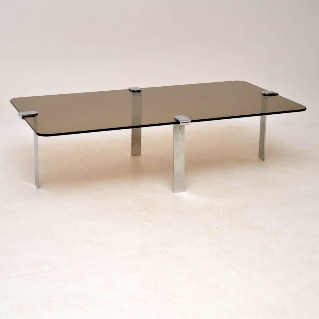 retro vintage chrome and glass coffee table