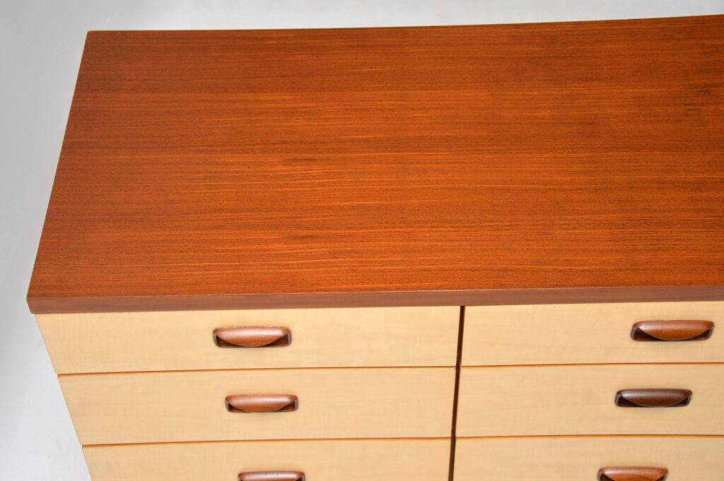 vintage retro sycamore walnut sideboard chest of drawers