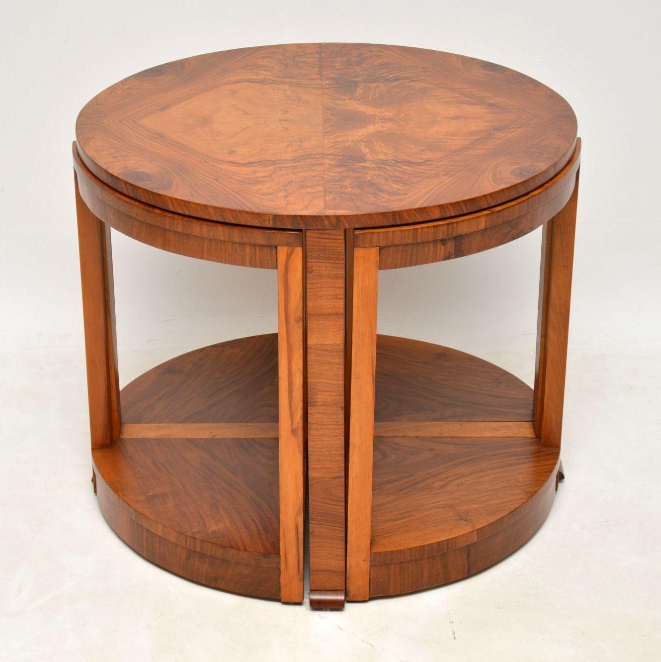 1920 S Art Deco Vintage Walnut Nesting Coffee Table