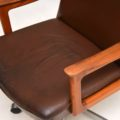1960's Danish Leather & Teak Swivel Desk Chair
