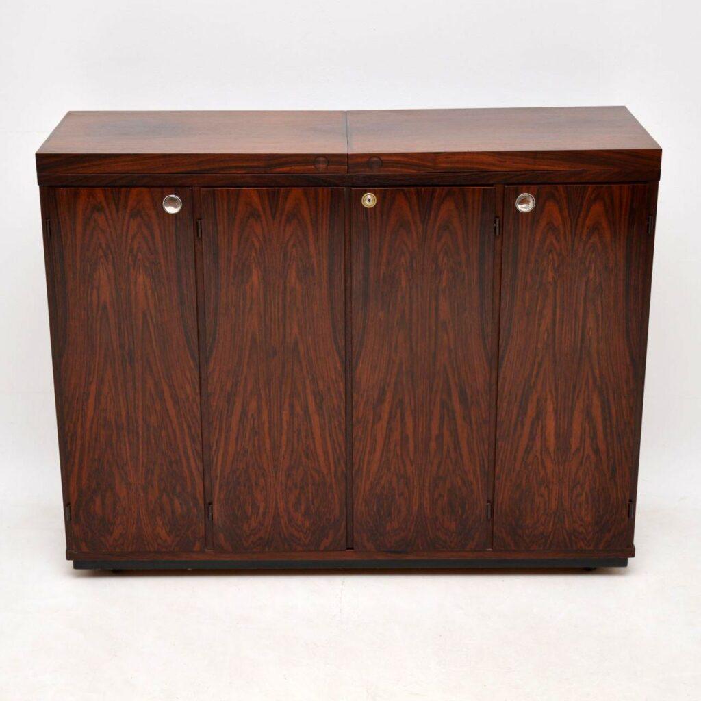 danish rosewood retro vintage bar cabinet sideboard by dyrlund