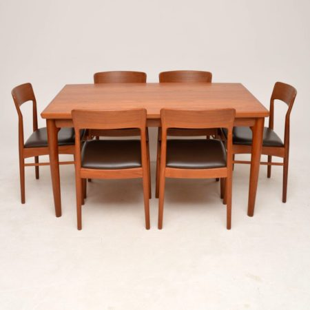1960's Danish Vintage Teak & Leather Dining Table & 6 Chairs
