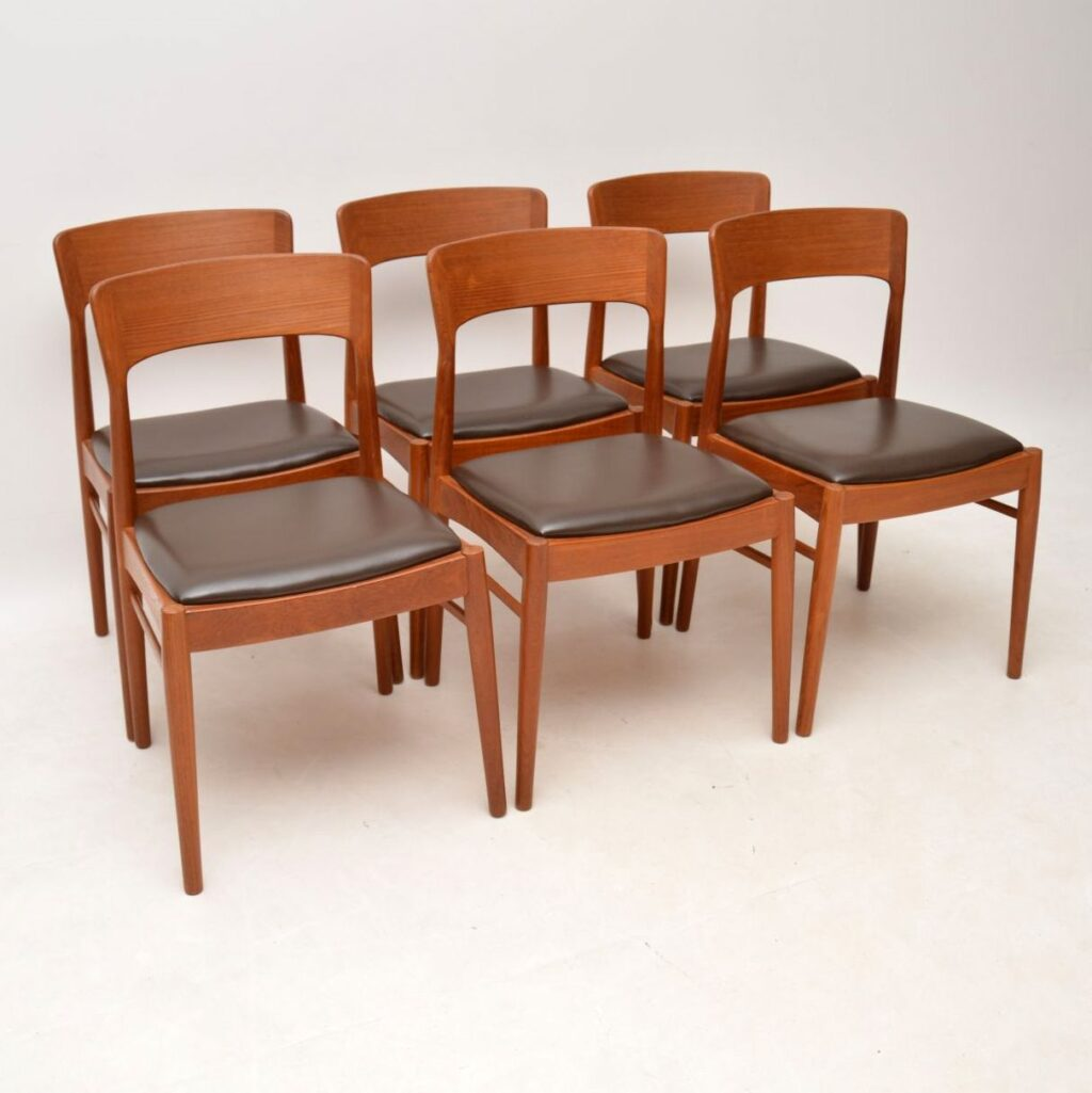 danish teak vintage dining table and leather chairs vintage retro