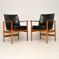1960's Pair of Leather & Walnut Armchairs by IB Kofod Larsen