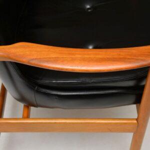 pair of danish leather walnut armchairs ib kofod larsen