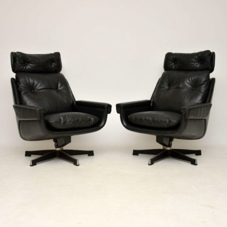 Pair of Vintage Leather Rocking Swivel Armchairs by PeeM