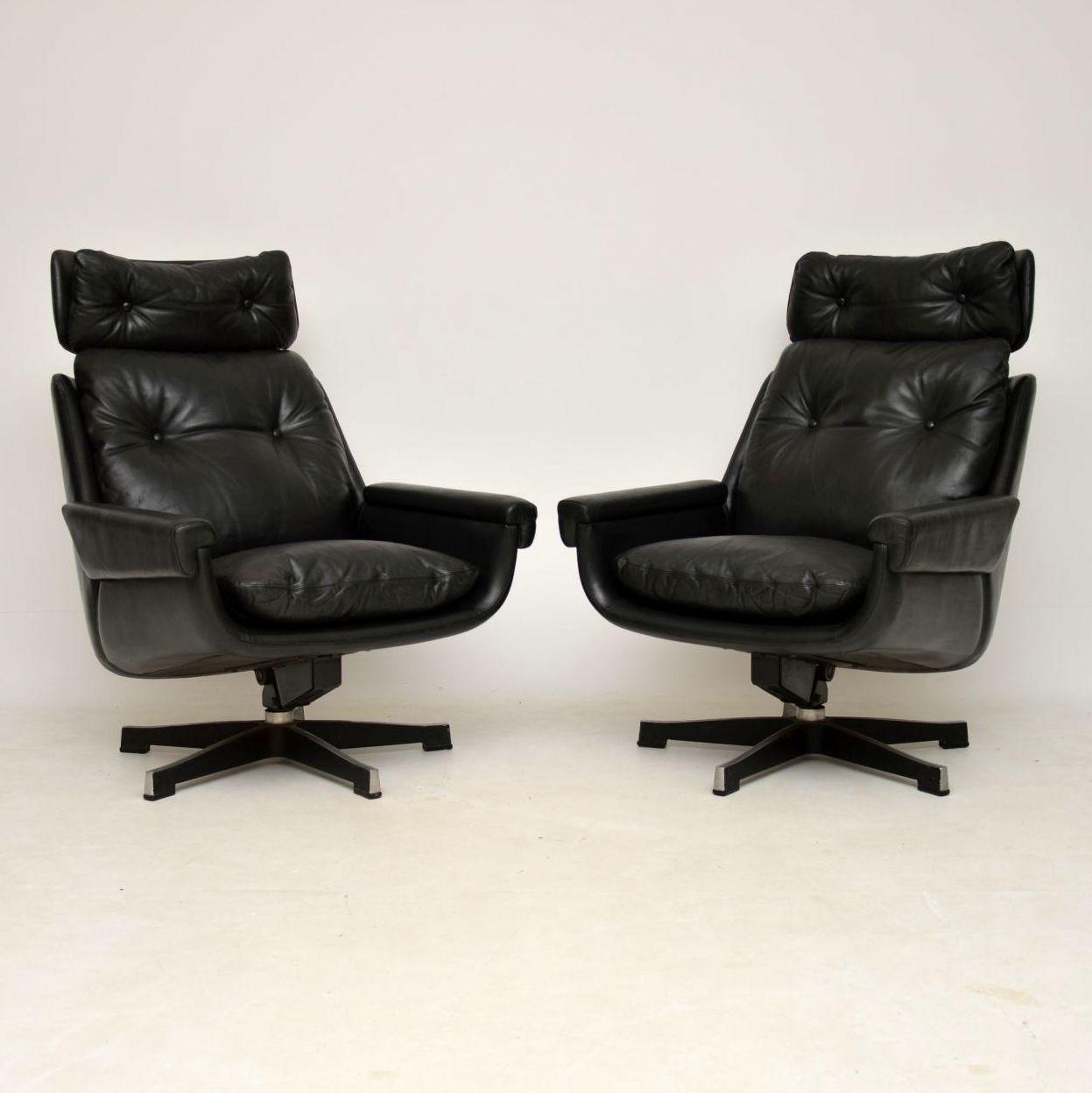 pair of vintage leather retro swivel rocking armchairs peem