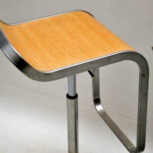 pair of retro lem la palma bar stools oak
