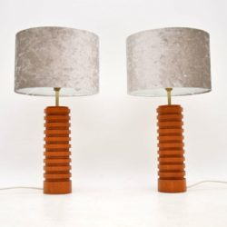 1960's Pair of Vintage Teak Table Lamps