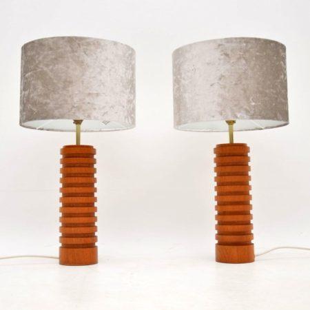 1960's Pair of Vintage Teak Table Lamps