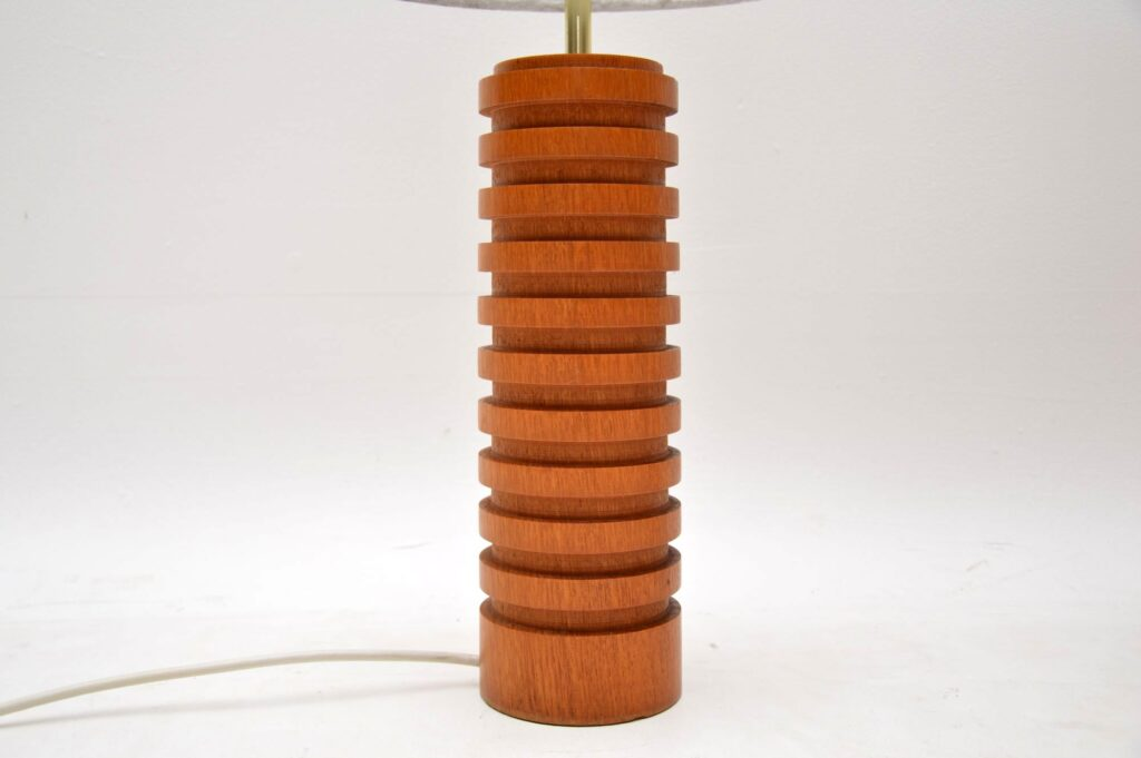 pair of retro vintage danish teak table lamps