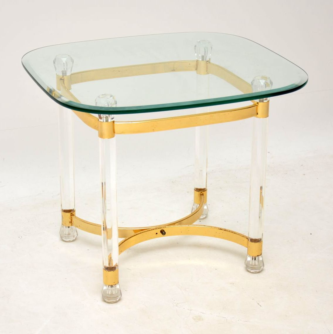 vintage retro brass glass lucite acrylic coffee side table