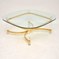 1970's Vintage Acrylic Brass & Glass Coffee Table