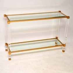 1970's Vintage French Glass , Lucite & Brass Console Table