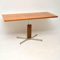 teak retro vintage rise and fall adjustable coffee dining table