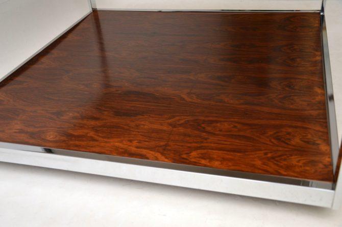vintage retro rosewood chrome coffee table merrow associates