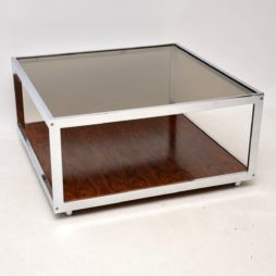 vintage retro rosewood chrome coffee table merrow associates