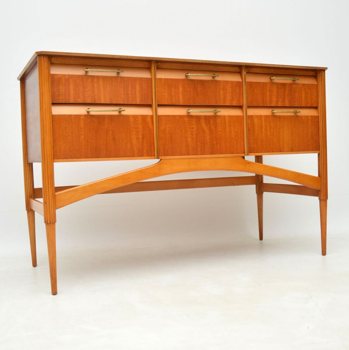 retro vintage satinwood danish sideboard chest