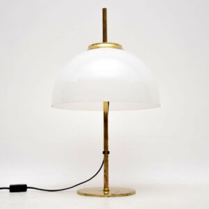 vintage retro brass and glass rise and fall table lamp