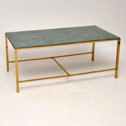 1950's Vintage Brass & Marble Coffee Table