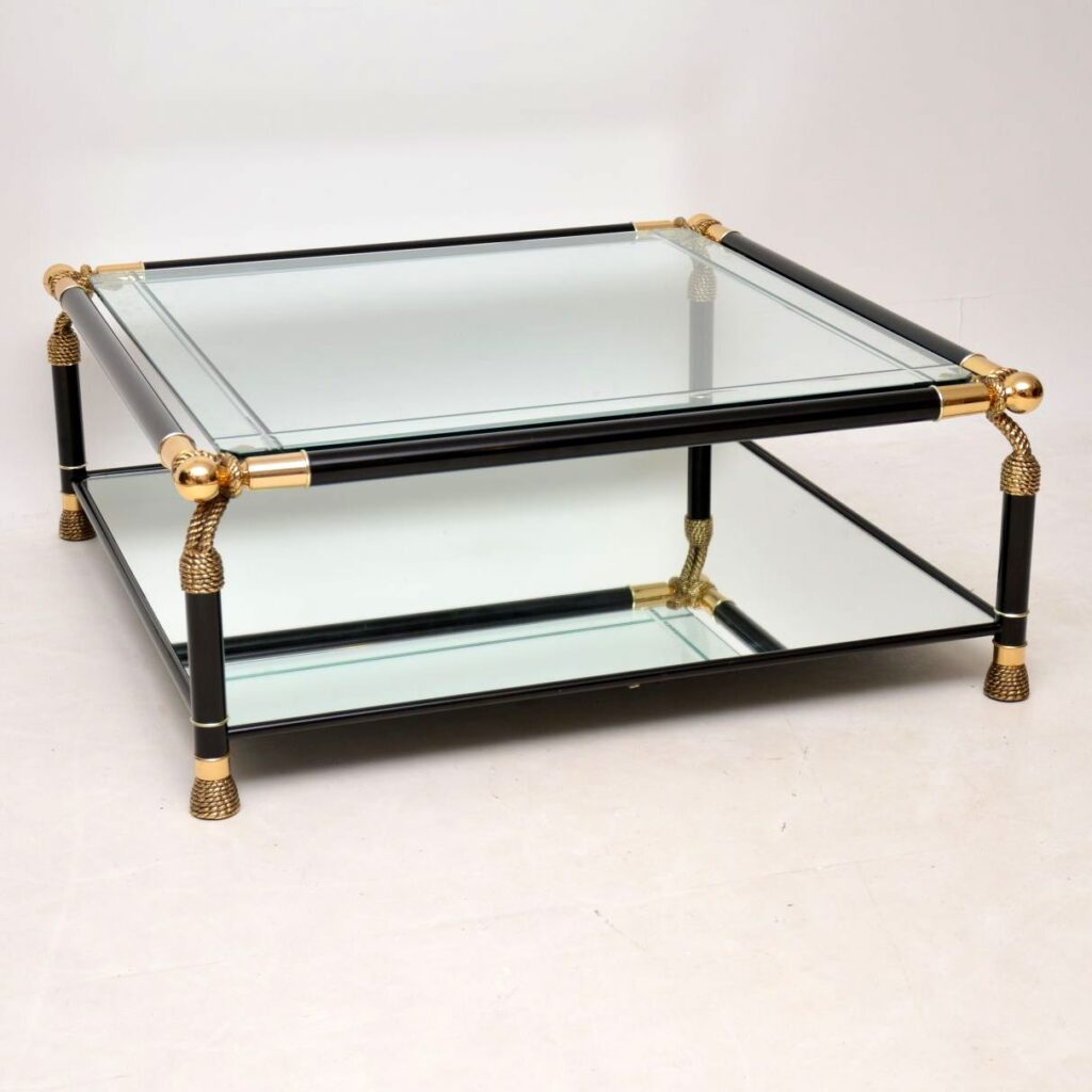 vintage retro antique italian brass glass coffee table
