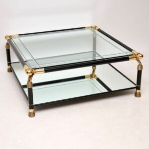 vintage retro antique italian brass glass coffee table