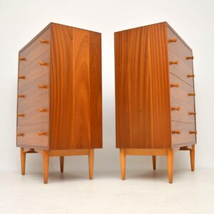 pair of walnut retro vintage chest of drawers