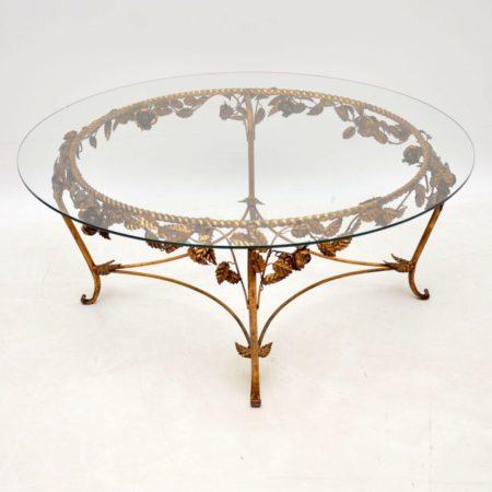 1950's Vintage French Gilt Metal Coffee Table
