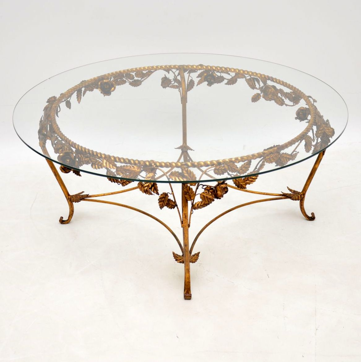 1950's Vintage French Gilt Metal Coffee Table