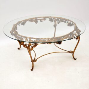 antique vintage french gilt metal coffee table