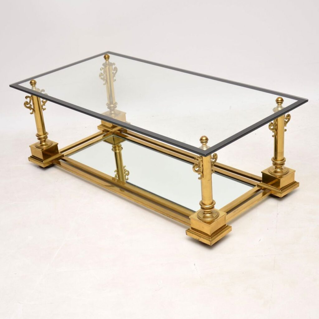 antique vintage brass french coffee table maison charles