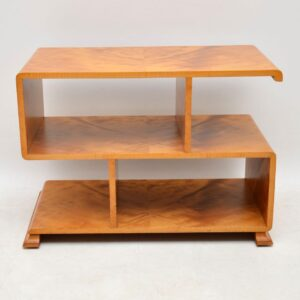 art deco satin wood bookcase side table