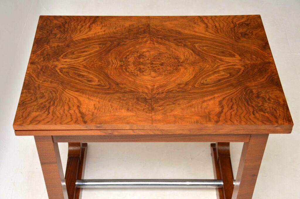art deco walnut vintage antique card side console table