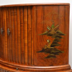 art deco walnut chinoiserie cocktail cabinet