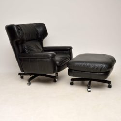 1960's Vintage Leather Reclining Armchair & Stool
