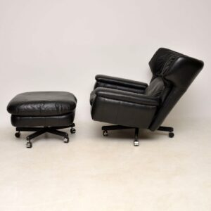 retro vintage leather swivel reclining armchair and stool