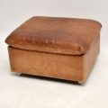 1960's Vintage Tanned Leather & Chrome Footstool Ottoman