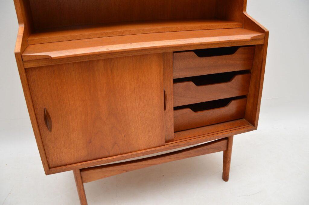 danish teak retro vintage bureau bookcase