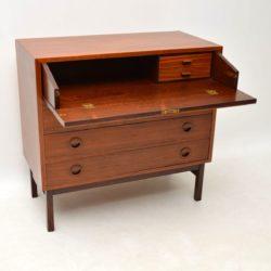 danish rosewod teak vintage retro bureau chest of drawers