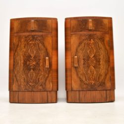 pair of vintage antique art deco walnut bedside cabinets