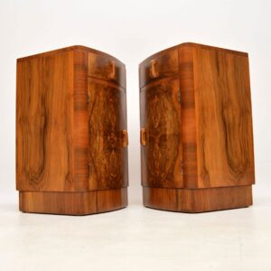 pair of vintage antique art deco walnut bedside cabinets