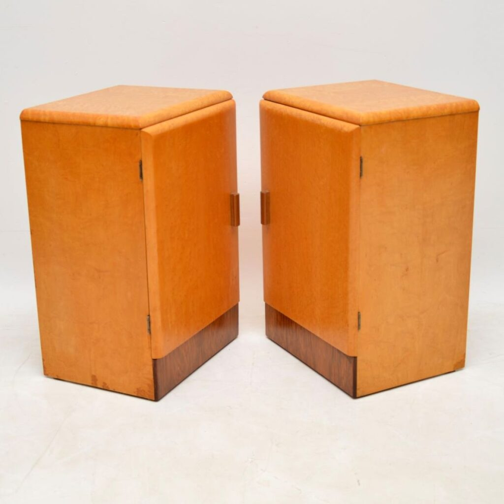 pair of art deco mpale walnut bedside cabinets
